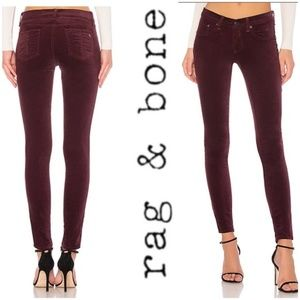 Rag & Bone High Rise Velvet Skinny Jeans, 28